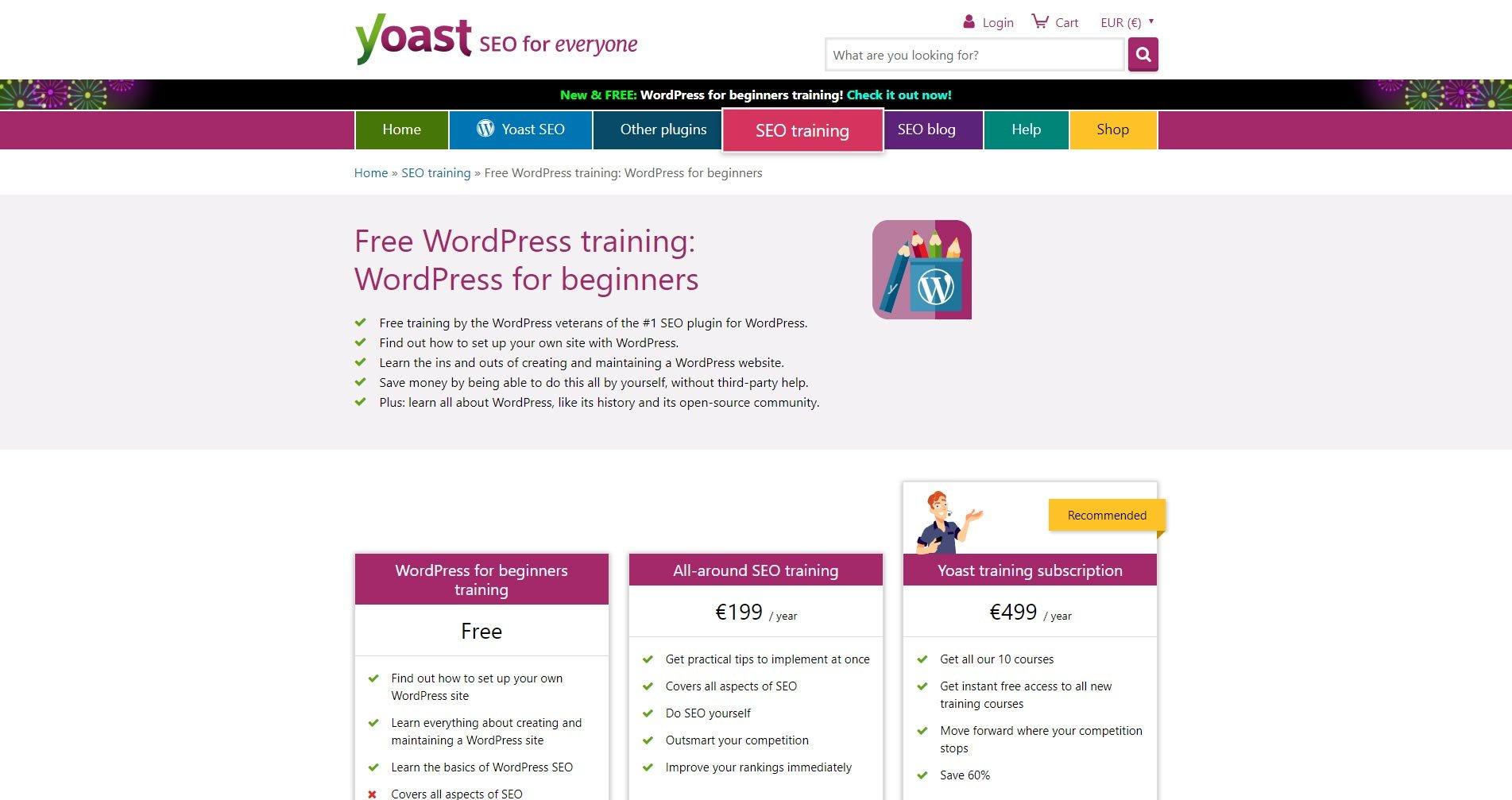 Yoast rilascia un corso gratuito per WordPress Beginners